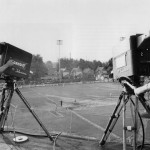 A live baseball game in Kitchener using the Famous Players Mobile Remote with its RCA cameras.