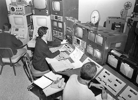 Don Peterson on the Phillips colour camera CCU, Dave Smart? at video switcher and Bob Currie on Telecine in Master Control.  Circa late 60s