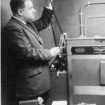 "Chief Film Cameraman Doug Lehman, shown in this promotional photo with the stations new ""state of the art"" film processor which replaced the 3rd party processing that was previously performed by John Columbo  Film Labs"