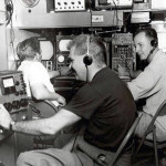 Inside the Famous Players Mobile Remote.  Marv Stroh in the foreground and possibly Paul Kudla back to camera and the other may be Harold Mantay...both ended up at CJOH (thanks to Don Patterson for names)