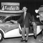 Gary McLaren doing a live commercial for Forbes Motors for this 1957 Buick Caballero wagon.  (a rare collectable car today) All commercials were live as video tape was not introduced until the early 60s.