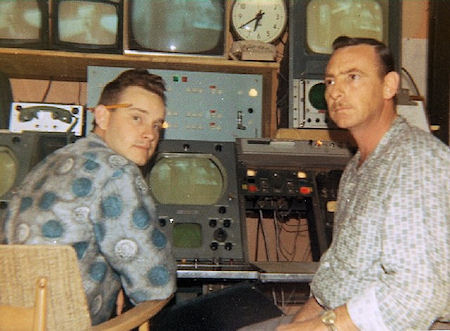 Hughie Laing and Ron Beattie in front of a Camera Control Unit (CCU) in Master Control