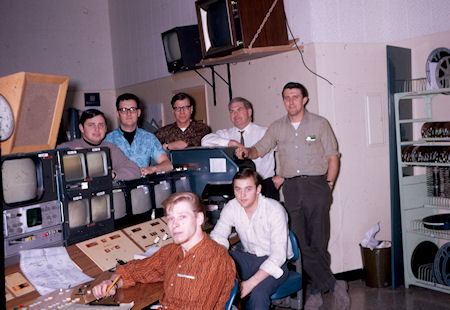 Master control in mid 60s.  Don Patterson, Randy Maahs, Carl Rogala,         Marvin Stroh, Gareth Lewis. Sitting Skip Haybarger and Phil Priestman