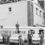 The station quickly built their own Video Cruiser bus connected with the station via Microwave from atop the adjacent apartment building thus allowing live coverage.  In this 1960 photo L-R: Larry McIntyre, Bob Klem, Doug Lehman, Gary McLaren, Don MacDonald and Ted Hooten