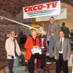 Randy Maahs, John Donahue, Don Patterson, Dennis Boucher at the CKCO 40th Anniversary.  Randy, Don and Dennis ended up at CJOH Ottawa.