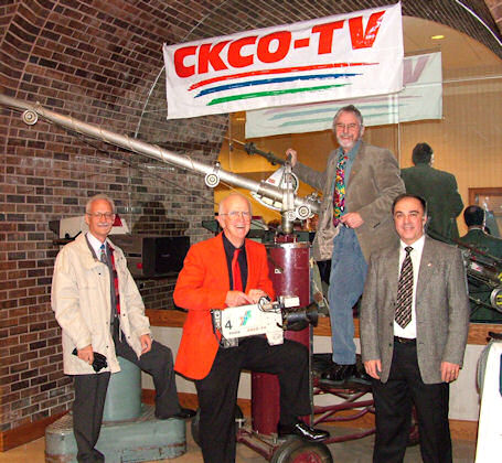 Randy Maahs, John Donahue, Don Patterson, Dennis Boucher at the CKCO 40th Anniversary.  Randy, Don and Dennis ended up at CJOH Ottawa.