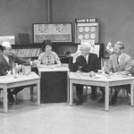 Romper Room promo photo with L-R Prog. Dir. Bruce Lawson, Representative from Bert Claster Productions, Miss Fran, Station manager Bill McGregor, Sales Mgr Bob McKewon, and Director George Moskal.