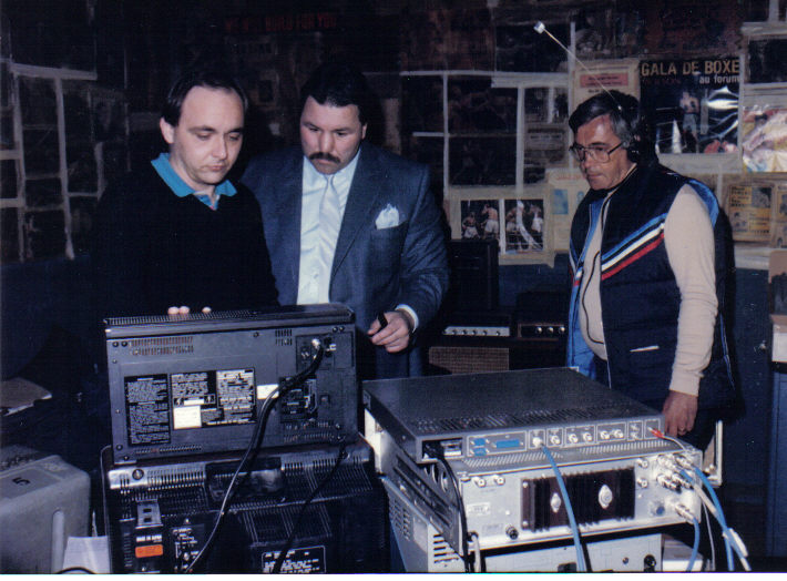 On the set of Famous Knockouts. Date unknown. Mid to late 80's  L to R: Paul Francescutti, George Chuvalo & John Arajs.Photo from Paul Francescutti