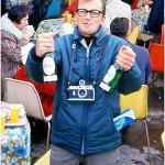 News Cameraman, John Arajas, enjoying a few quarts of Heineken in the German Pavilion at Expo '67