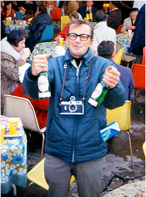 News Cameraman, John Arajas, enjoying a few quarts of Heineken in the German Pavilion at Expo '67