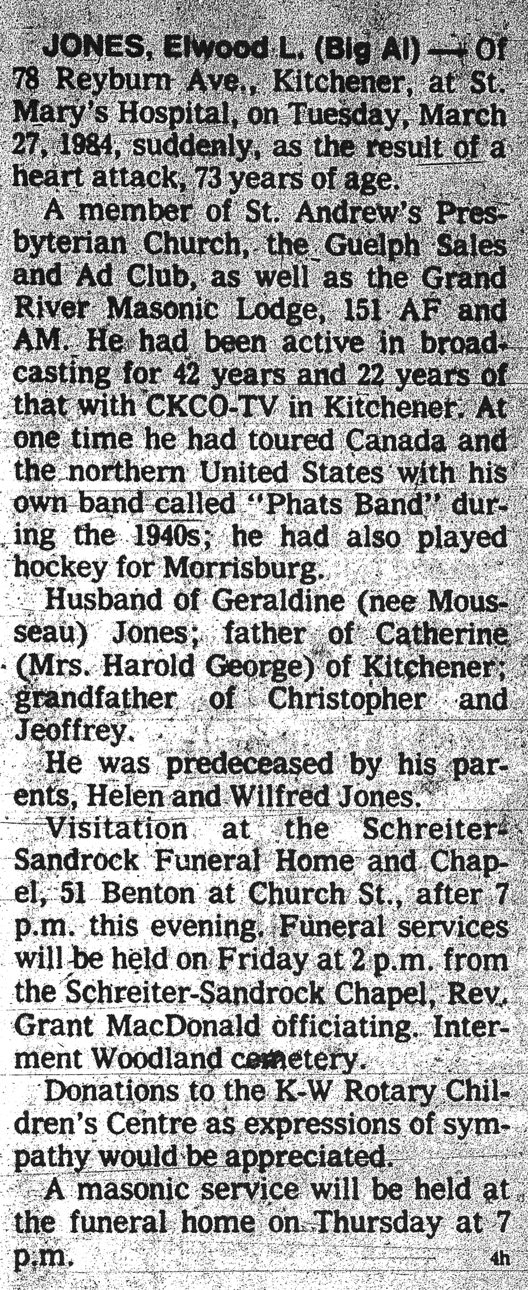 Jones, Elwood L. - March 27, 1984 - Obit