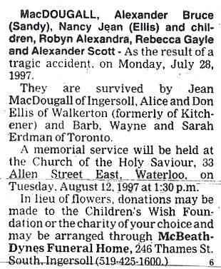 MacDougall, Nancy a - July 28, 1997 - Obit