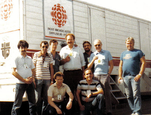1988 - St. John's Newfoundland. Papal Tour - Hired by the CBC. L-R: Eric Posner, Frank Parsons, Randy Ricketts, Henning Grumme, Jin Tracey, Vic Neuman and Paul Francescutti (Two unknowns) Photo from Paul Francescutti