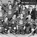 The Radio-TV All Star Hockey Team (circa late 50s)  Back: Howie Heckendorn in suit,  Doug Gerard, ???, George Moskal CKCO  Center: Joe McIntyre CKCO, Murray Davidson CKCR, Gary McLaren, Len Collis CKCO,  ???, ??? Front: ???, Don Cameron CKCR, Jim Smith, ???, Harold Zister, Gary Megaffin, CKCR Morning Man  photo courtesy of Gary McLaren