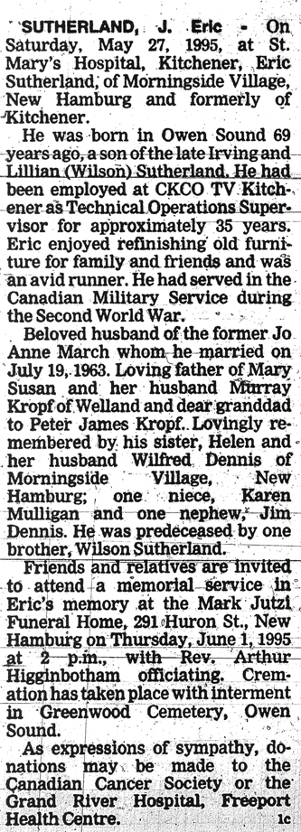 Sutherland, J. Eric - May 27, 1995 - Obit