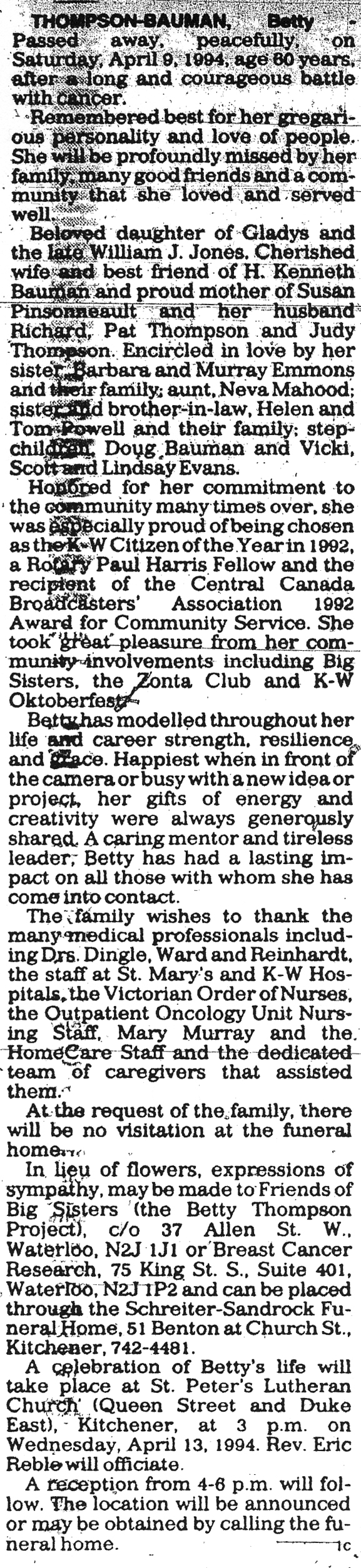 Thompson-Bauman, Betty - April 9, 1994 - Obit