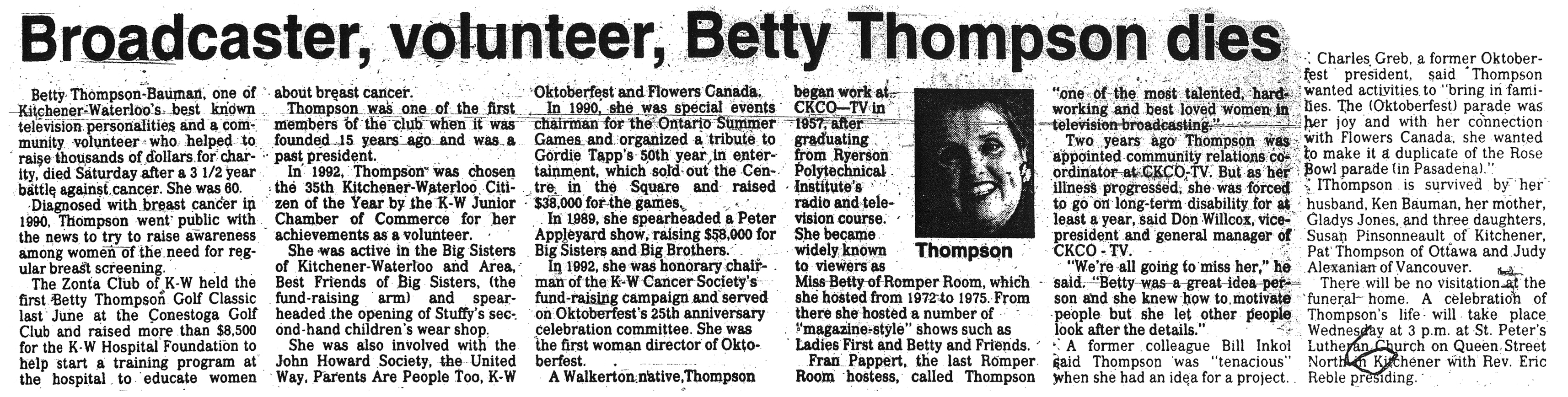 Thompson, Betty - April 11, 1994 - Story