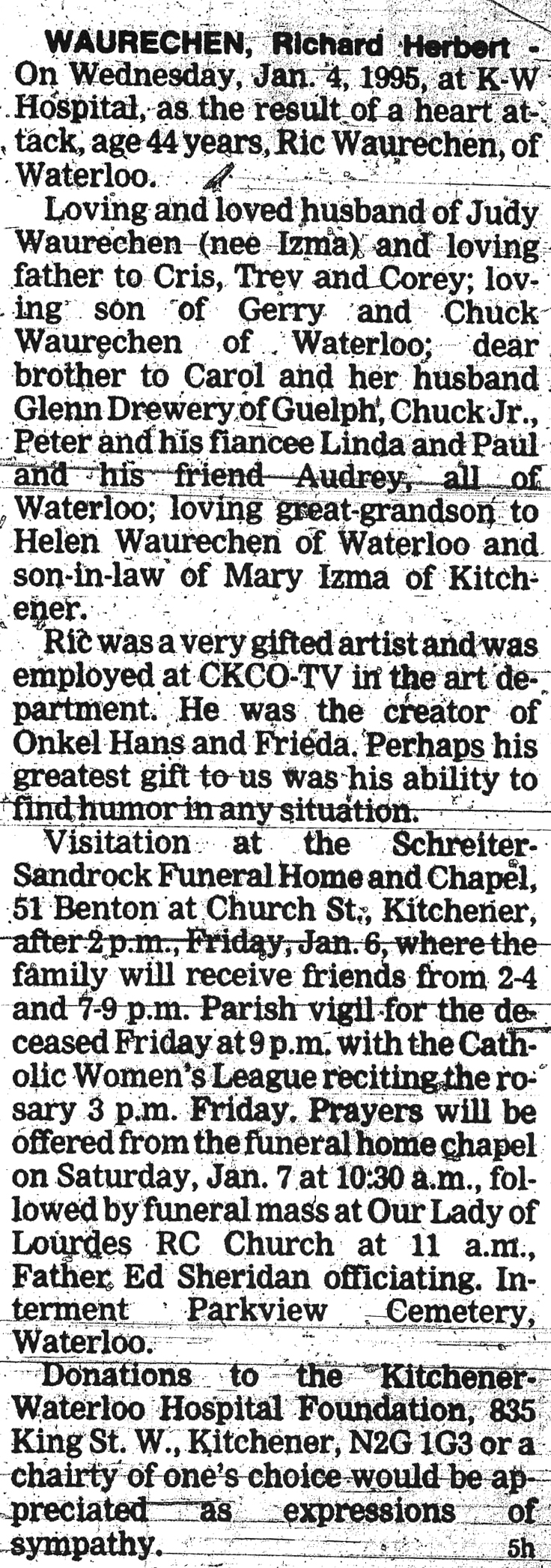 Waurechen, Richard Herbert - January 4, 1995 - Obit