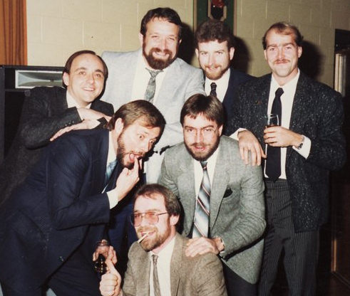 "Clockwise from the top: Tom Keller, Kevin Doerr, Dan Bailey, Brian ""Buck"" Dunseith, Ken Elliott, Joe Ulmer and Paul Francescutti. Photo from Paul Francescutti"
