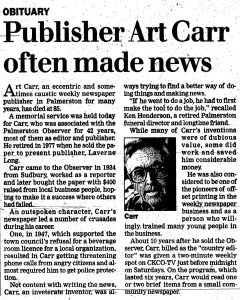 Art Carr - Record Dec. 13, 1996