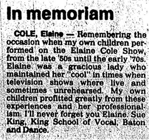 Elaine Cole  - In memoriam