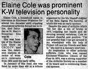 Elaine Cole  - Newspaper Article