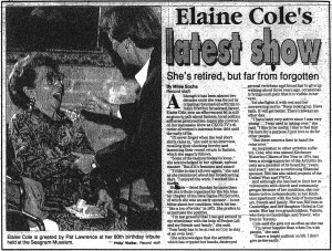 Elaine Cole - Record Jan. 15 1992
